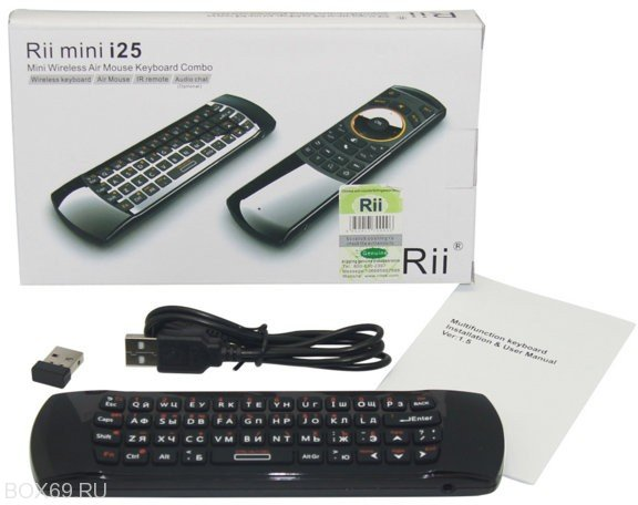 Мини-клавиатура с микрофоном и air mouse Rii i25A